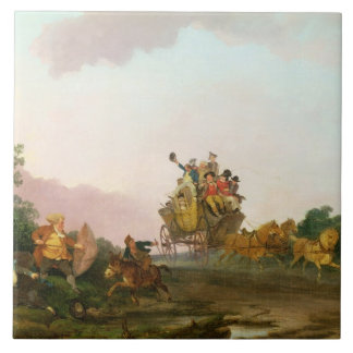 Juerguistas en un coche, c.1785-90 (aceite en lona azulejo cuadrado grande