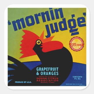 Juez de Mornin Pegatina Cuadrada