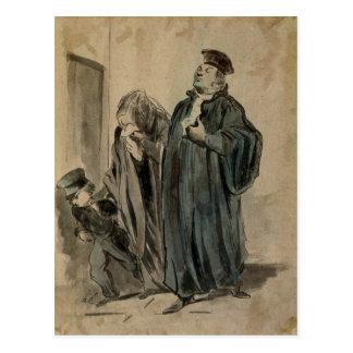 Juez, mujer y niño postal