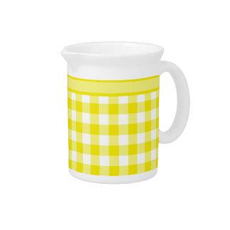 Jug or Pitcher, Lemon Yellow Check Gingham Beverage Pitcher