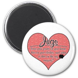 Jug Paw Prints Dog Humor 2 Inch Round Magnet