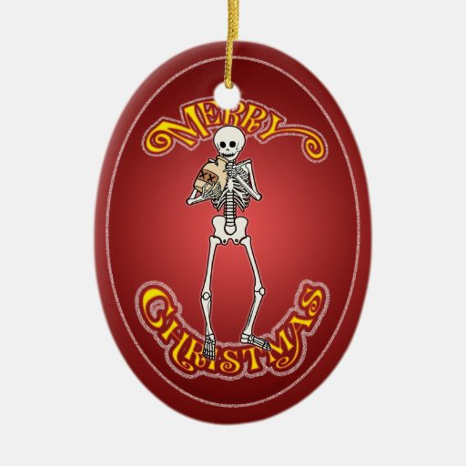 Jug Playing Skeleton Christmas Ornament