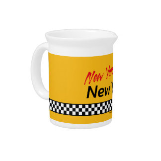 Jug Taxi NY & Red KIS Beverage Pitcher