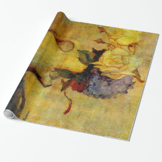 Jug with Yellow and Violet Flowers Wrapping Paper