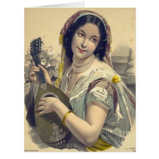 Jugador 1850 del laúd tarjeta de felicitación grande