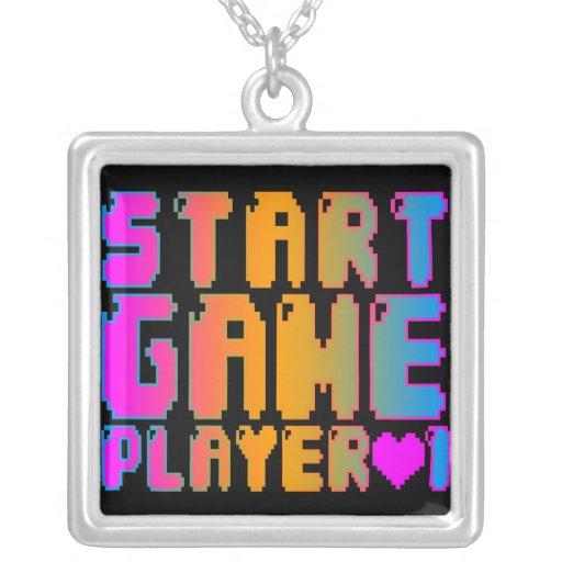 Jugador 1 del juego del comienzo del vintage del colgante cuadrado