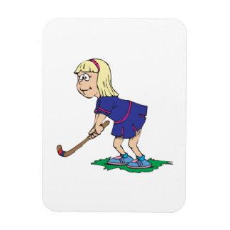 Jugador 2 del chica del hockey hierba iman rectangular