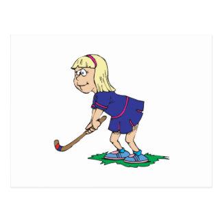 Jugador 2 del chica del hockey hierba postal