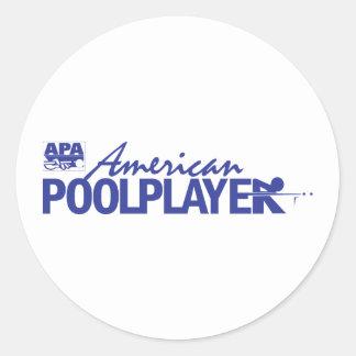 Jugador americano de encargo de la piscina - azul pegatina redonda