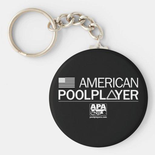 Jugador americano de la piscina llavero personalizado
