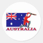 Jugador australiano del grillo etiquetas redondas