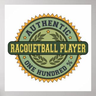 Jugador auténtico del Racquetball Posters