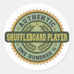 Jugador auténtico del Shuffleboard Pegatina Redonda