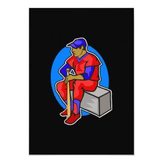 jugador azul rojo de la bola invitación 12,7 x 17,8 cm
