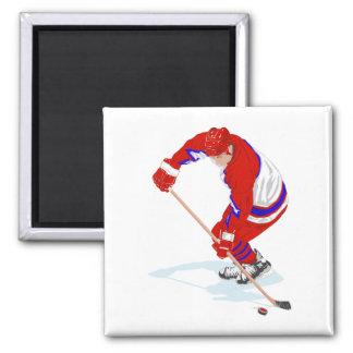 Jugador azul rojo del hockey sobre hielo iman de frigorífico