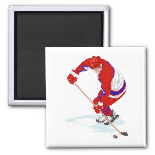 Jugador azul rojo del hockey sobre hielo imán cuadrado