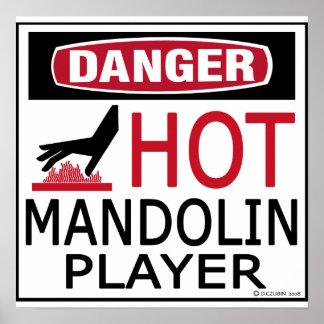 Jugador caliente de la mandolina póster
