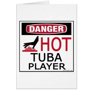 Jugador caliente de la tuba tarjeta de felicitación