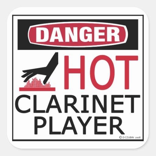 Jugador caliente del Clarinet Pegatina Cuadrada