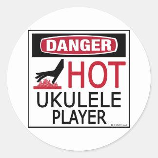 Jugador caliente del Ukulele Pegatina Redonda