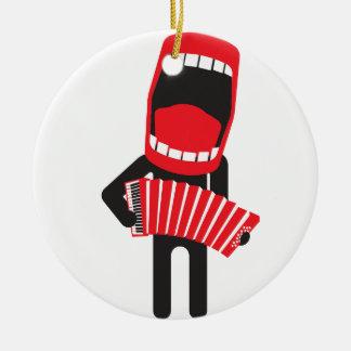jugador cantante ruidoso del acordeón adorno navideño redondo de cerámica