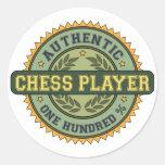 Jugador de ajedrez auténtico etiquetas redondas