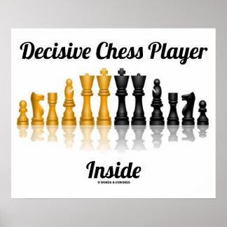Jugador de ajedrez decisivo dentro del juego de aj impresiones