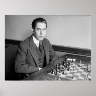 Jugador de ajedrez del campeón del mundo, 1915 póster