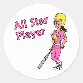 Jugador de All Star - chica Pegatina Redonda