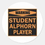 Jugador de Alphorn del estudiante Pegatinas Redondas