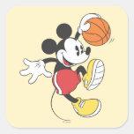 Jugador de básquet 3 de Mickey Mouse Pegatinas Cuadradases