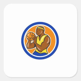 Jugador de básquet afroamericano que tira Cartoo Calcomanías Cuadradass Personalizadas