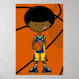 Jugador de básquet con el poster del Afro