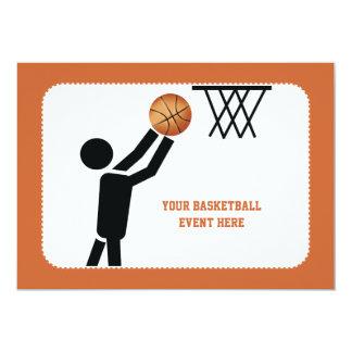 """Jugador de básquet con personalizado de la bola invitación 5"""" x 7"""""""