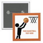 Jugador de básquet con personalizado de la bola pins