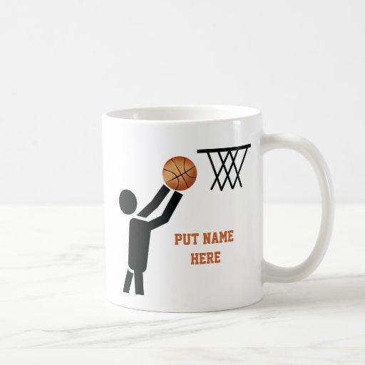 Jugador de básquet con personalizado de la bola taza básica blanca