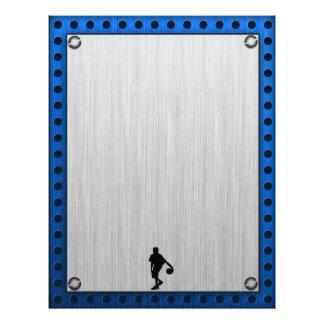 Jugador de básquet de aluminio cepillado de la mir membrete a diseño