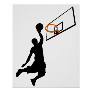 Jugador de básquet de la clavada de la silueta impresiones