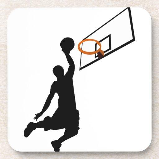 Jugador de básquet de la clavada de la silueta posavaso