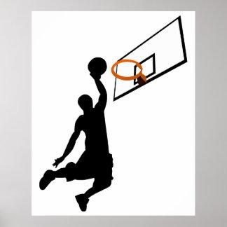Jugador de básquet de la clavada de la silueta póster