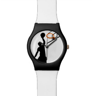 Jugador de básquet de la clavada de la silueta relojes de pulsera