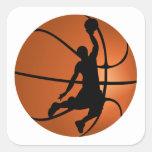 Jugador de básquet de la clavada pegatina cuadradas personalizada