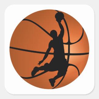 Jugador de básquet de la clavada pegatina cuadrada