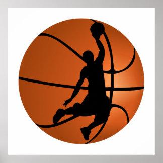 Jugador de básquet de la clavada póster