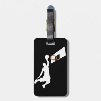 Jugador de básquet de la clavada - silueta blanca etiquetas bolsas