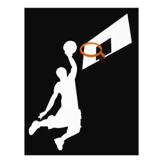 """Jugador de básquet de la clavada - silueta blanca folleto 8.5"""" x 11"""""""
