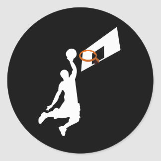 Jugador de básquet de la clavada - silueta blanca pegatina redonda