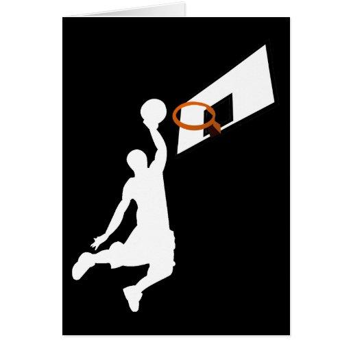 Jugador de básquet de la clavada - silueta blanca felicitación