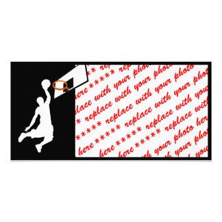 Jugador de básquet de la clavada - silueta blanca plantilla para tarjeta de foto
