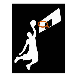 Jugador de básquet de la clavada - silueta blanca postales